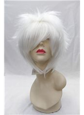 Cheap 12 Inch Capless Straight White Synthetic Hair Costume Wigs