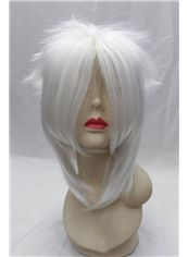 14 Inch Capless Straight White Synthetic Hair Costume Wigs
