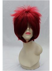 10 Inch Capless Straight Red Synthetic Hair Costume Wigs