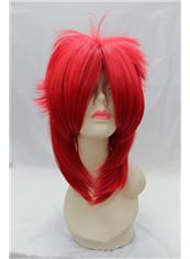 14 Inch Capless Straight Red Synthetic Hair Costume Wigs