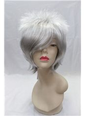 12 Inch Capless Wavy Gray Synthetic Hair Costume Wigs