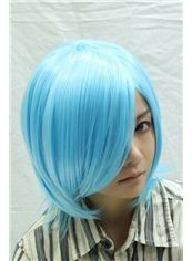 12 Inch Capless Straight Blue Synthetic Hair Costume Wigs