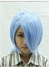 Cheap 12 Inch Capless Straight Blue Synthetic Hair Costume Wigs