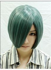 10 Inch Capless Straight Green Synthetic Hair Costume Wigs