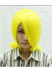 12 Inch Capless Straight Yellow Synthetic Hair Costume Wigs