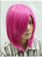 14 Inch Capless Straight Pink Synthetic Hair Costume Wigs