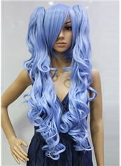 30 Inch Capless Wavy Blue Synthetic Hair Costume Wigs