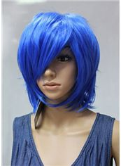 Hot 12 Inch Capless Straight Blue Synthetic Hair Costume Wigs
