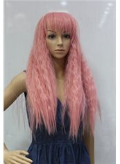 Cheap 24 Inch Capless Wavy Pink Synthetic Hair Costume Wigs