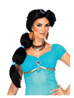 Princess Jasmine 24 Inch Capless Black Synthetic Hair Costume Wigs