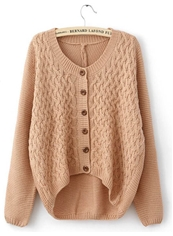 Pullover Nude Pink Long Sleeve Round Neck Sweater
