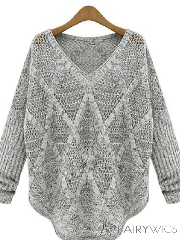 Gray V Neck Pullover Hollow Sweater