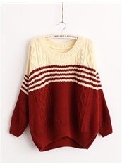 Red Boyfriend Straight Long Sleeve Embroidery Sweater