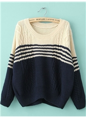 Navy Blue Boyfriend Straight Long Sleeve Embroidery Sweater