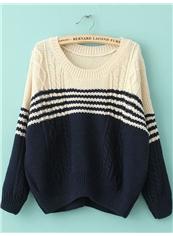 Navy Blue Boyfriend Straight Long Sleeve Embroidery Sweater