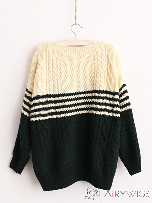 Dark Green Boyfriend Straight Long Sleeve Embroidery Sweater