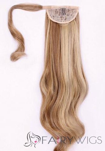 Newest 20 Inch Wavy Human Hair Clip & Drawstring Ponytails