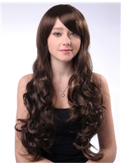 Elegant 24 Inch Capless Wavy Dark Brown Cheap Synthetic Hair Wigs