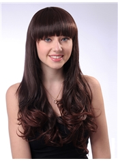 Attractive 22 Inch Capless Wave Chestnut Brown Synthetic Hair Wig