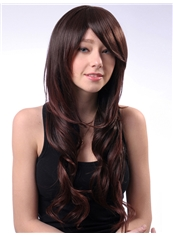 Cheap 24 Inch Capless Wavy Chestnut Brown Synthetic Hair Wig