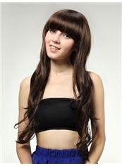 Cheap 24 Inch Capless Wave Dark Brown Synthetic Hair Wig