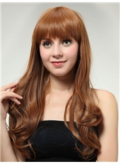 Attractive 20 Inch Capless Wave Golden Synthetic Hair Medium Wig