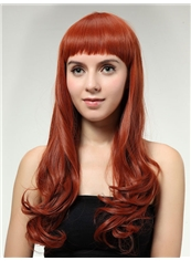 Exquisite 22 Inch Capless Wave Orange red Synthetic Hair Wig