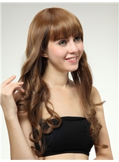 Charming 22 Inch Capless Wavy Chocolate Synthetic Hair Wig