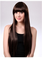 Latest Stylish 24 Inch Capless Straight Dark Brown Synthetic Hair Wig