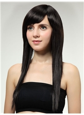 Cheap 22 Inch Capless Straight Black Synthetic Hair Wig