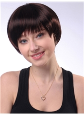 Attractive 8 Inch Capless Straight Chestnut Synthetic Hair Short Wig
