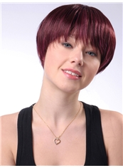 8 Inch Capless Straight Wine Red Synthetic Hair Wig