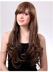 Stylish 24 Inch Capless Wavy Light Brown Synthetic Hair Wig