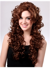 Sexy 22 Inch Capless Curly Medium Brown Synthetic Hair Wig