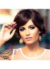 Human Hair Popular Short Wigs Elegant Soft Short Brown Wig