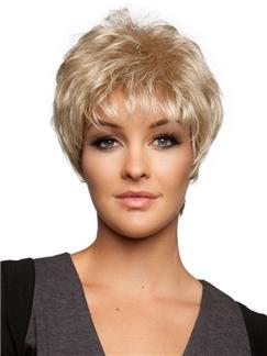 Fluey Short Wavy Blonde 8 inch Human Hair wig