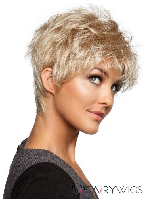 Fluey Short Wavy Blonde 8 Inch Human Hair Wig Fairywigs Com