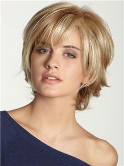 100% Human Hair Graceful Short Wavy Blonde 10 Inch Wigs