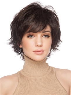 Human Hair Sweety Short Wavy Blonde African American Capless Wigs for Women