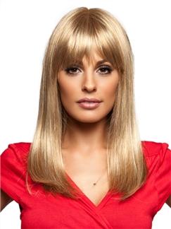 New Full Bang Shinny Brown Human Wigs for Women 14 Inch