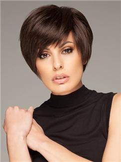 New Short Straight Brown 100% Human Hair Wigs