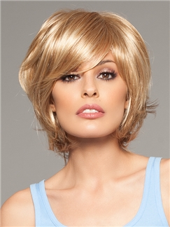 Human Hair Brown Short Natural Blonde Wigs for  Women 10 Inch