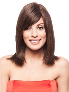 Human Hair Medium Wigs for  Women 12 Inch