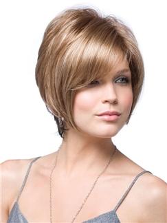 2015 Cool Short Wavy Side Bang Human Wigs for Women 10 Inch