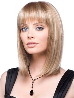 Beautiful Short Wavy Brown Full Bang 100% Human Wigs for Women 12 Inch
