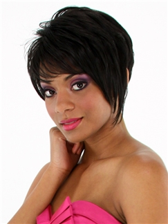 Beautiful Short Wavy Brown Side Bang African American Human Wigs for Women 8 Inch