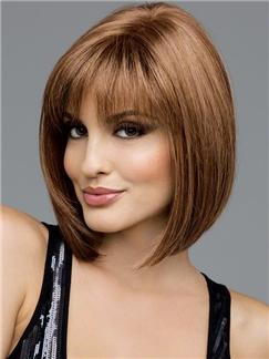 European Style Short Straight Honey Brown 12 Inch Human Hair Wigs