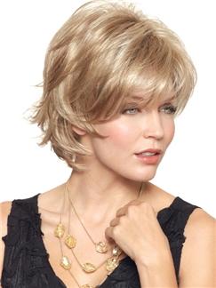 Amazing Short Wavy Blode Capless Human Wigs for Women