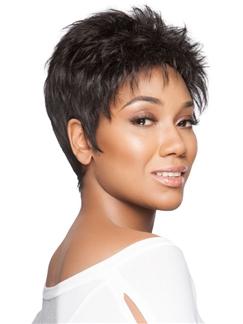 Human Hair Stunning Short Black Female Celebrity Wig