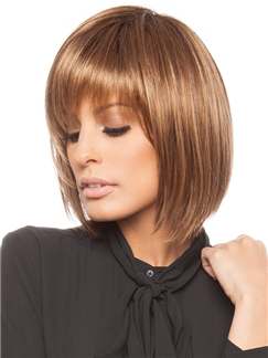Graceful Short Straight Light Brown 10 Inch Real 100% Human Hair Wigs